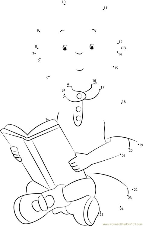 printable dot to dot booklet caillou reading a book dot to dot printable worksheet