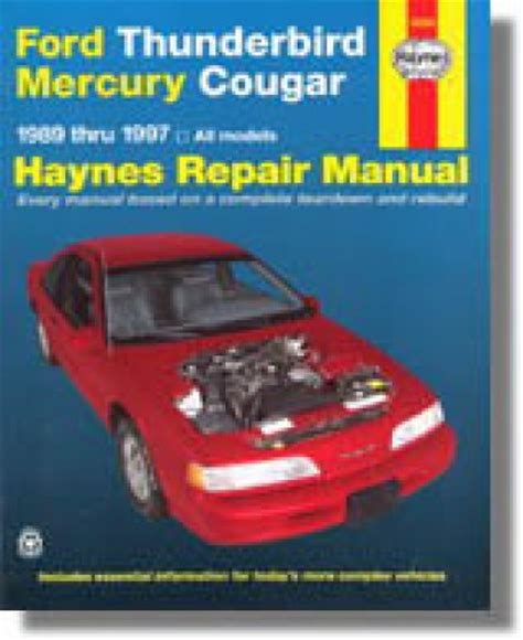 car owners manuals free downloads 1997 ford thunderbird parking system haynes ford thunderbird mercury cougar 1989 1997 auto repair manual