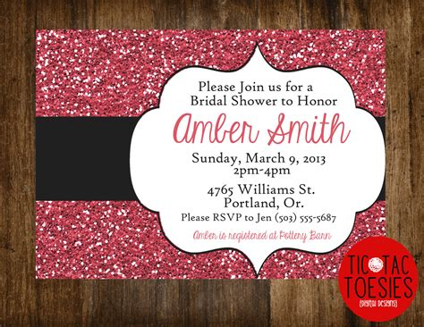 Sparkly Bridal Shower Invitations by Glitter Invitation Bridal Shower Invitation Wedding Shower