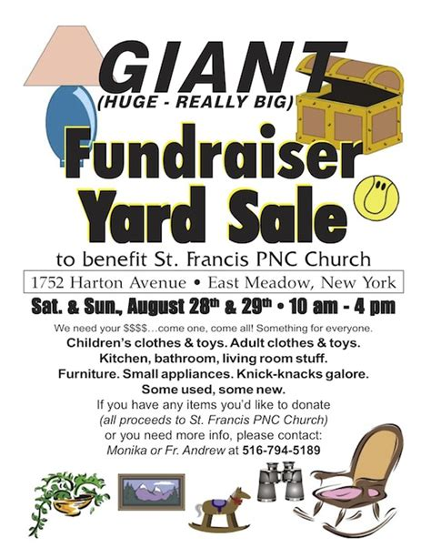 Garage Sale Flyer Template Word by Fundraiser Yard Sale St Francis Pncc