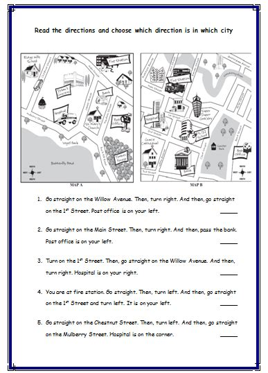 giving directions printable sheets giving directions worksheets always english