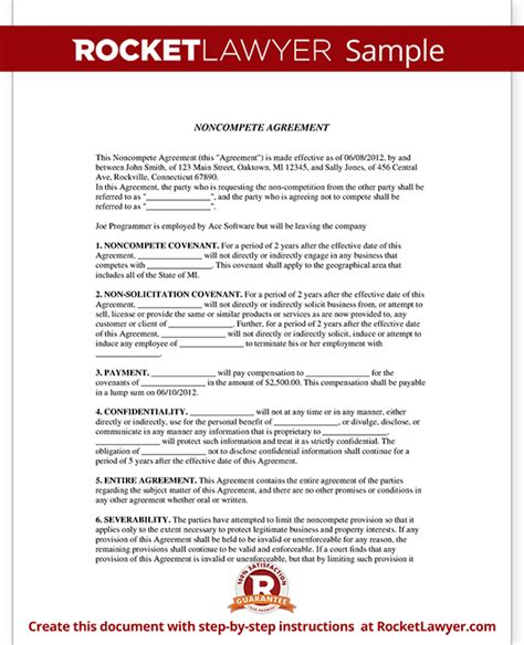 Non Compete Agreement Form Non Compete Clause With Sle Insurance Non Compete Agreement Template
