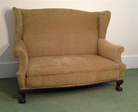 star homespun high wing back settee with rolled arms wingback sofa 1950s italian two seat wingback sofa in grey