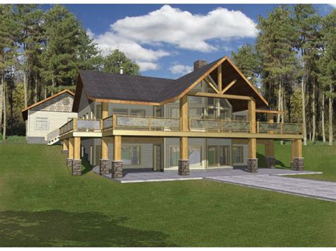 house plans with walkout basement eplans a frame house plan hillside with two levels of outdoor living 3871 square