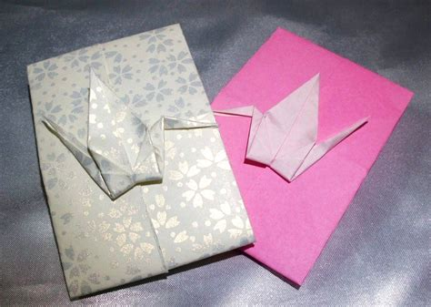 Origami Message - 折り紙 鶴のポチ袋 origami crane message card メッセージカード作り方 これっ