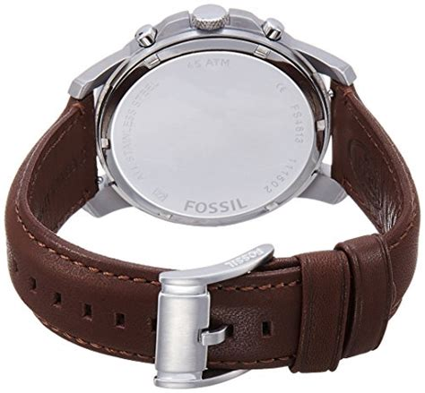Fossil Fs4813 Leather Brown Silver Black Incld Box D 45 Mm fossil s fs4813 grant stainless steel with brown leather band 101 best brands
