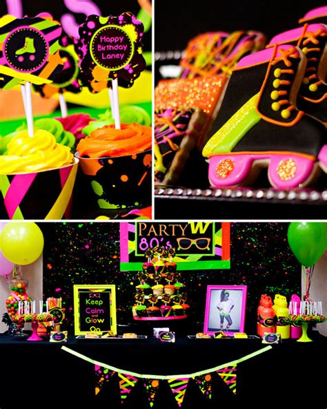 neon party 80 s party skate party printable