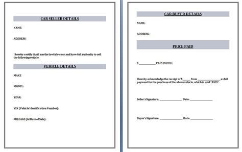 Selling Templates used car receipt template word excel formats