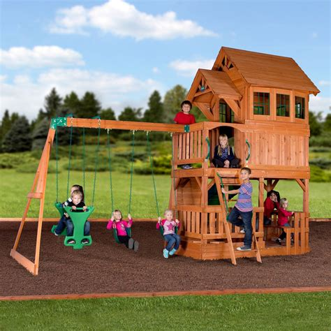 swing set liberty ii wooden swing set playsets backyard discovery