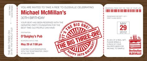 Boarding Pass Birthday Card Quick View Id 1138 Quot The Big Three Oh Boarding Pass