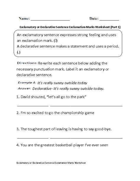 exclamatory  declarative exclamation marks worksheet