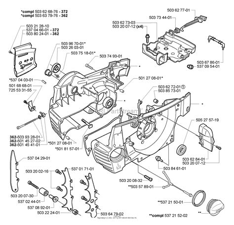 husqvarna chainsaw parts diagram husqvarna 372 2005 05 parts diagram for crankcase