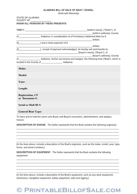 ga vessel registration form free alabama bill of sale of boat vessel form download
