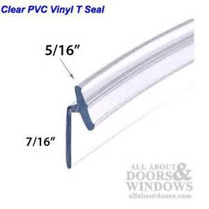 Pvc vinyl t seal frameless hinged shower door clear