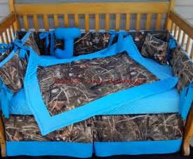 Camo Crib Set Real Tree Max 4 Advantage Camouflage And Turquoise