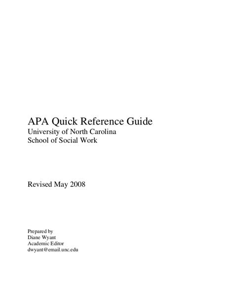 apa format quick reference guide apa quick reference guide