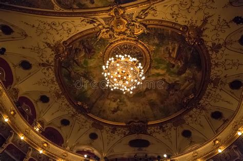 neo baroque chandelier croatian national theatre ceiling editorial image image of history masterpiece 48746310