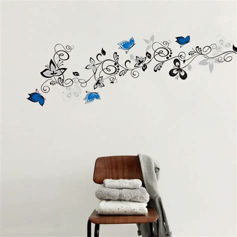 wall art decor floral vines wall sticker by wall art decor flower vine blue butterfly diy wall stickers home decor