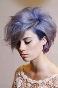 Short hair with purple highlights via