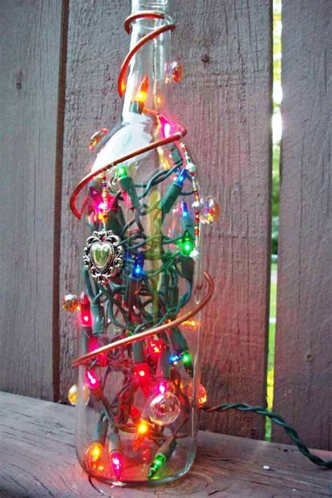 christmas lights decorations  glass bottles