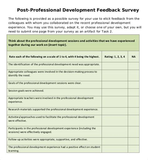 professional development evaluation form template feedback survey templates 17 free word excel pdf