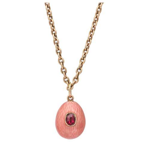 1900s russian enameled ruby gold easter egg pendant for