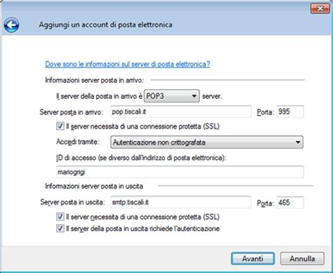 smtp tiscali porta tiscali assistenza configurazione posta windows mail