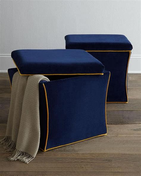Gold Trim Blue Storage Ottoman With Navy Blue Storage Navy Blue Storage Ottoman