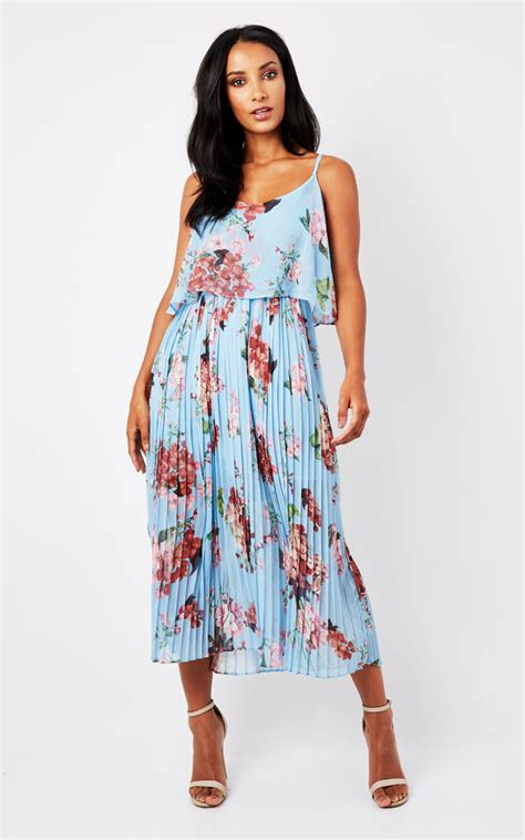 Blueoral Print Pleated Cami Midi Dress Urban Touch