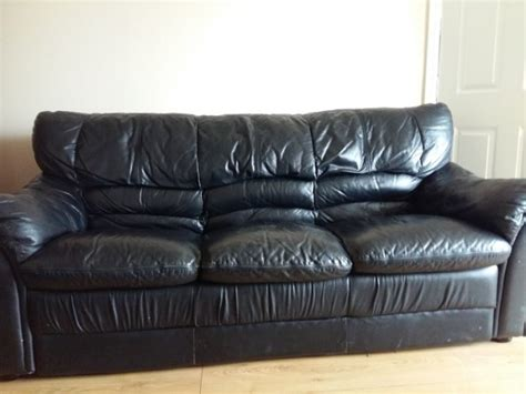 black leather sofa suite 3 piece couch 1 single recliner