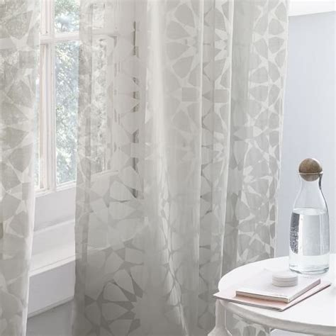 burnout curtains rosette tile burnout curtain platinum west elm