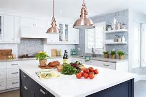 Delta Brushed Nickel Kitchen Faucet Navy Kitchen Island Contemporary Kitchen Benjamin