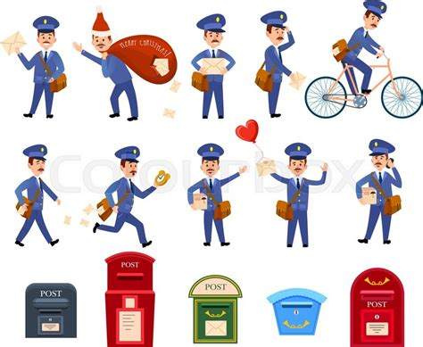 Character Letter Boxes set of icons with postman characters and mail boxes