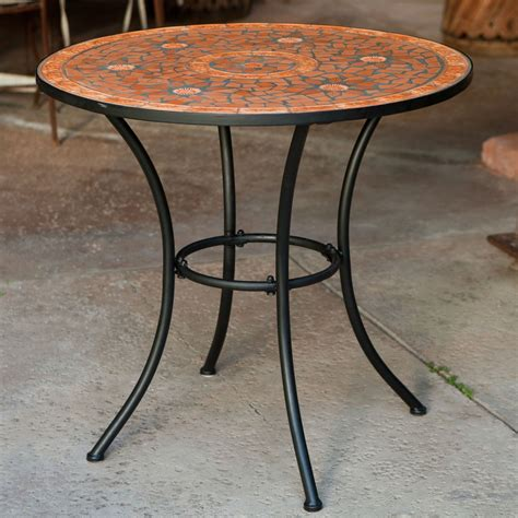 Desk Bikes Round Outdoor Patio Bistro Table With Terracotta Mosaic