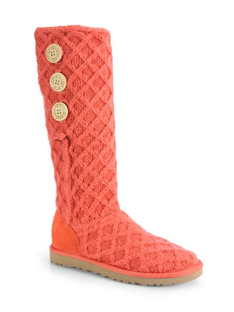 knit boots ugg lattice cardy knit boots in orange shrimp lyst