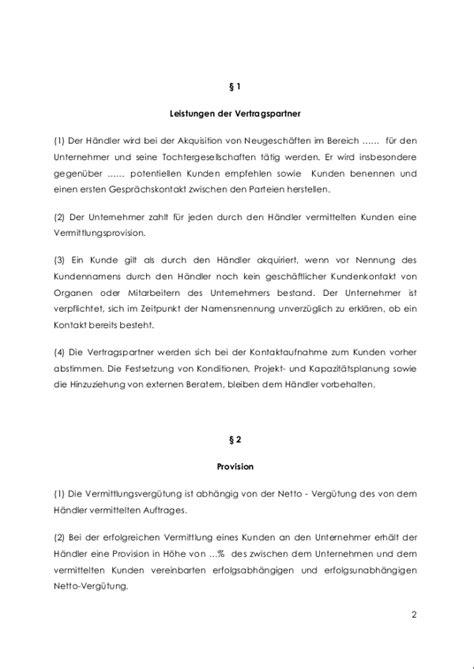 Schriftliches Angebot Muster provisionsvertrag f 252 r eine provisionsvereinbarung muster