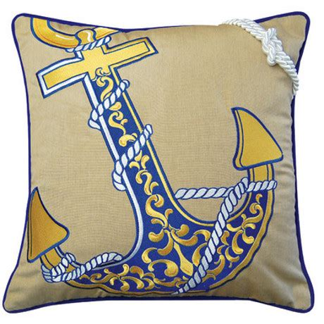 Outdoor Anchor Pillow by Anchor Embroidered Indoor Outdoor Pillow