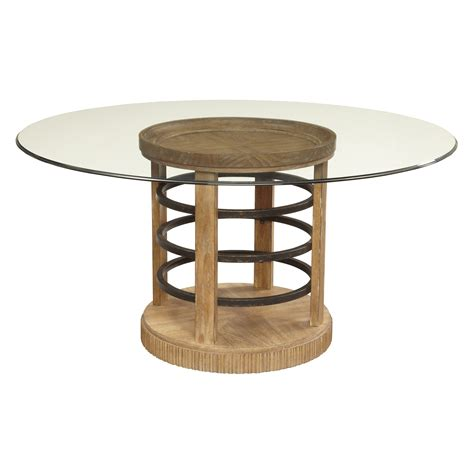 glass top pedestal dining room tables a r t furniture ventura round glass top hoop pedestal 60