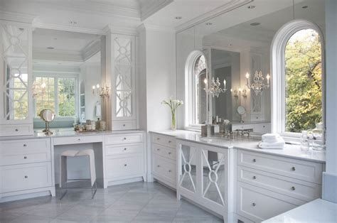 Bathrooms With White Cabinets Mirrored Bathroom Vanity Contemporary Bathroom Caden Design