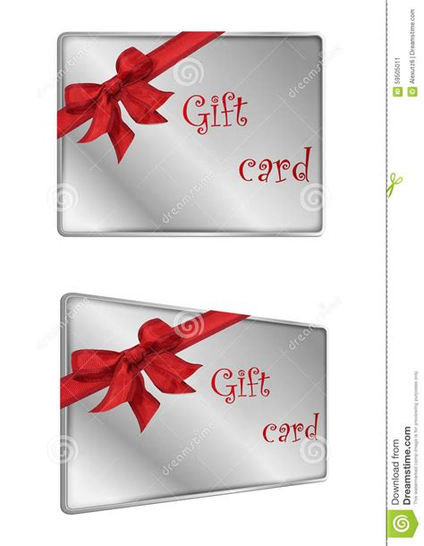 Ribbon Gift Cards - stock image shopping silver with ribbon gift card image 59505011