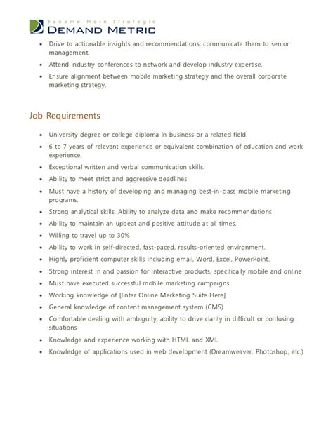 Marketing Officer Description by Mobile Marketing Manager Description