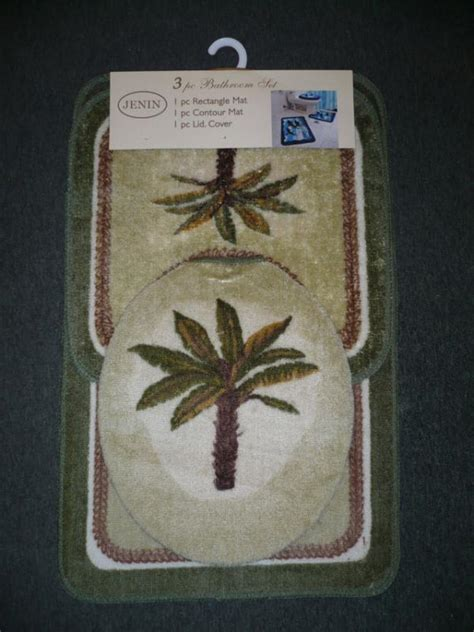 palm tree bathroom rugs 3 pcs palm tree bathroom mat rug toilet cover set green ebay