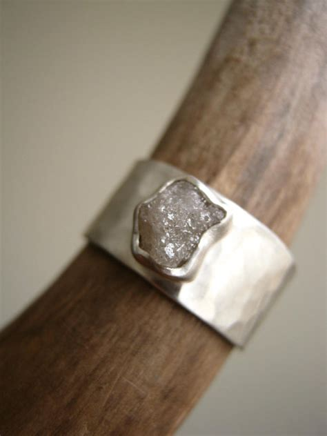 cut wide hammered sterling silver band