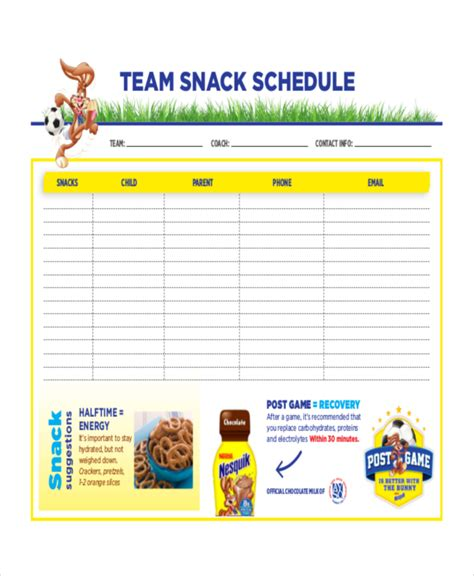 Snack Schedule Template 7 Free Word Excel Pdf Document Downloads Free Premium Templates Football Snack Schedule Template