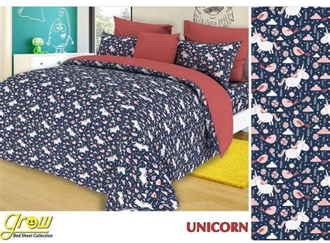 Sprei Bahan Katun Grow Uk 180 200 20 20 detail product sprei dan bedcover unicorn toko bunda