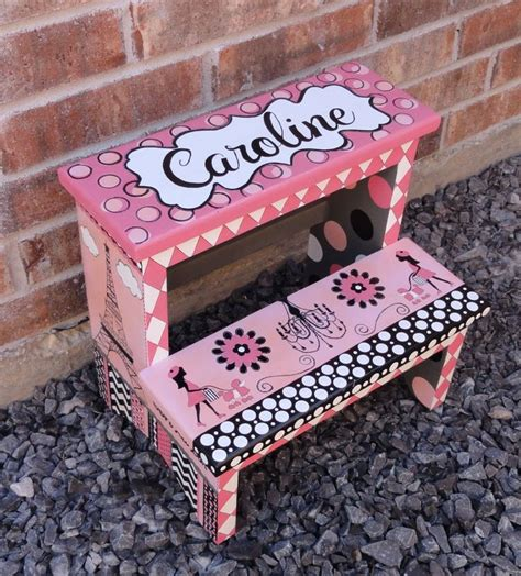 Painted Childrens Step Stools by Painted Step Stool Custom Personalized