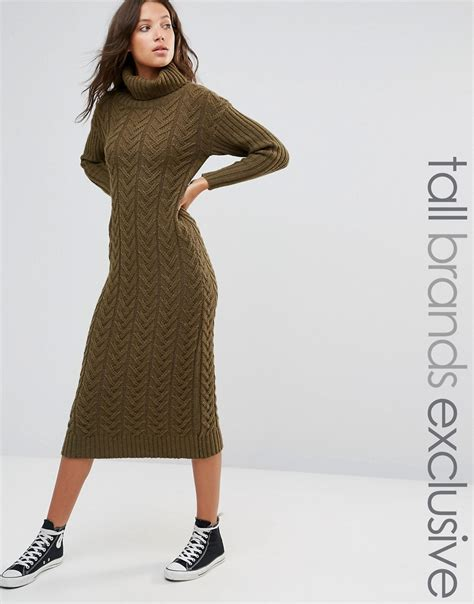 Midi Jumper Dress midi roll neck jumper dress by glamorous khaki