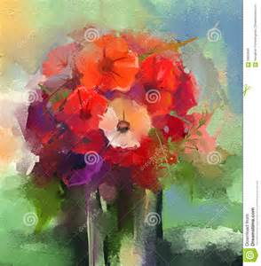 abstract oil paintings a bouquet of gerbera flowers in