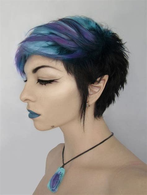 short hairstyles with dyed hair purple and blue short alternative dyed hair fixing the