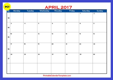 Kalender 2017 April April 2017 Calendar Printable Printable Calendar Templates